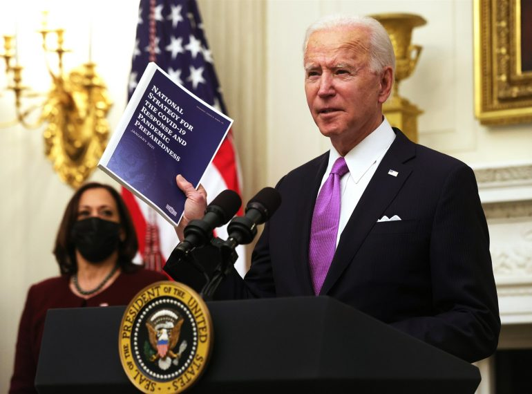 President Joe Biden presents his COVID-19 response plan at the White House Thursday, January 21, 2021. Photo: Getty Images.