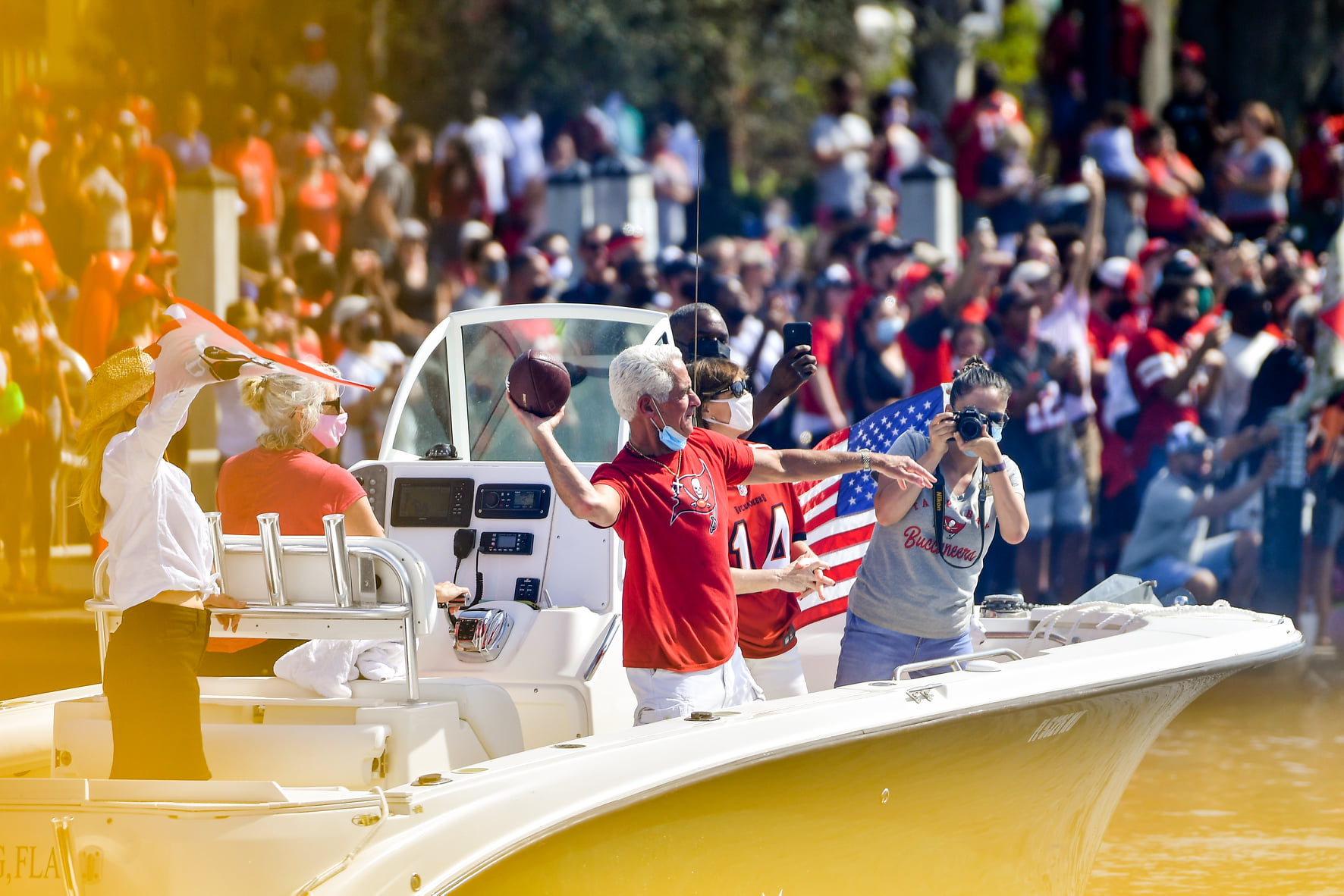 US Congressman Charlie Crist joined fans in a boat parade celebrating Tampa Bay Buccaneers Super Bowl LV win, Wednesday, February 10, 2021. (Photo by Harry Castiblanco / Florida National News)