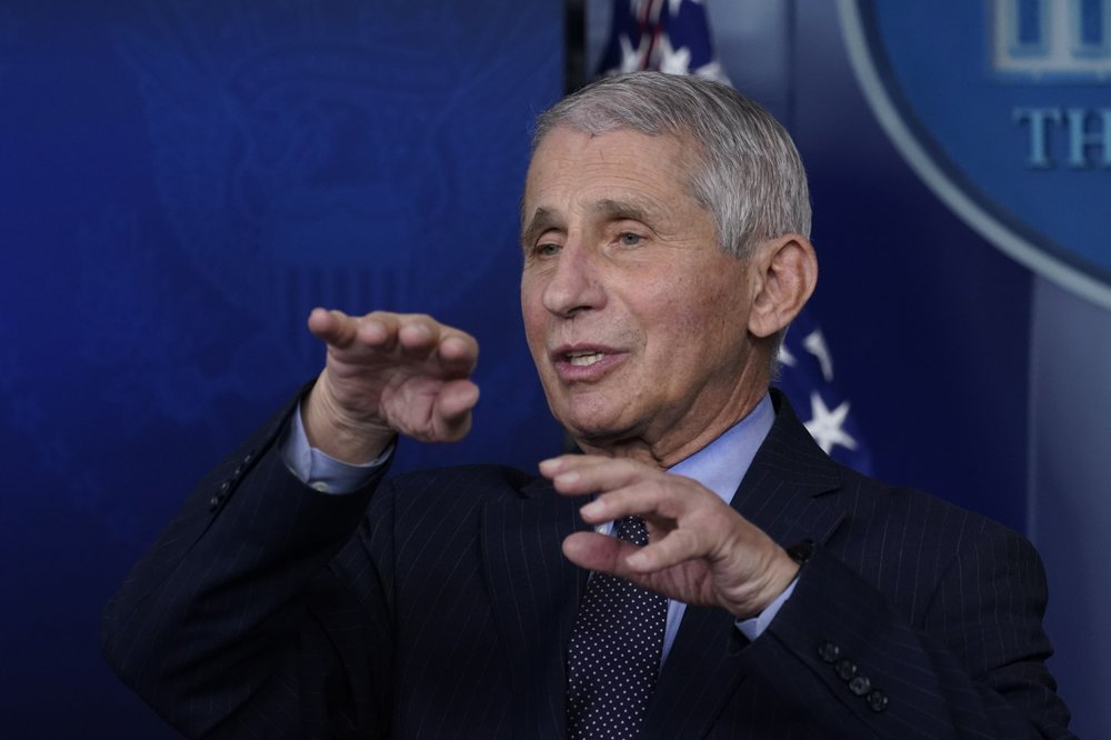 "ILE - In this Jan. 21, 2021 file photo, Dr. Anthony Fauci, director of the National Institute of Allergy and Infectious Diseases, speaks with reporters at the White House, in Washington. Fauci won a $1 million award from the Israeli Dan David Foundation for ""courageously defending science"" during the coronavirus pandemic. On Monday, Feb. 15, 2021, the foundation named Fauci, President Joe Biden's chief medical advisor, as the winner of one of three prizes, saying he had earned it over a lifetime of leadership on HIV research and AIDS relief, as well as his advocacy for the vaccines against COVID-19. (AP Photo/Alex Brandon, File)"