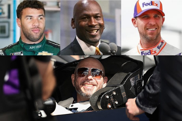 Top left to right: NASCAR driver Bubba Wallace will race in this year's DAYTONA 500 for 23Xi Racing, co-owned by Michael Jordan (center) and reigning two-time DAYTONA 500 champion Denny Hamlin. Bottom: Award-winning artist Pitbull joins Trackhouse Racing as co-owner and will have Daniel Suarez driving in this year's Great American Race. Images via NASCAR.