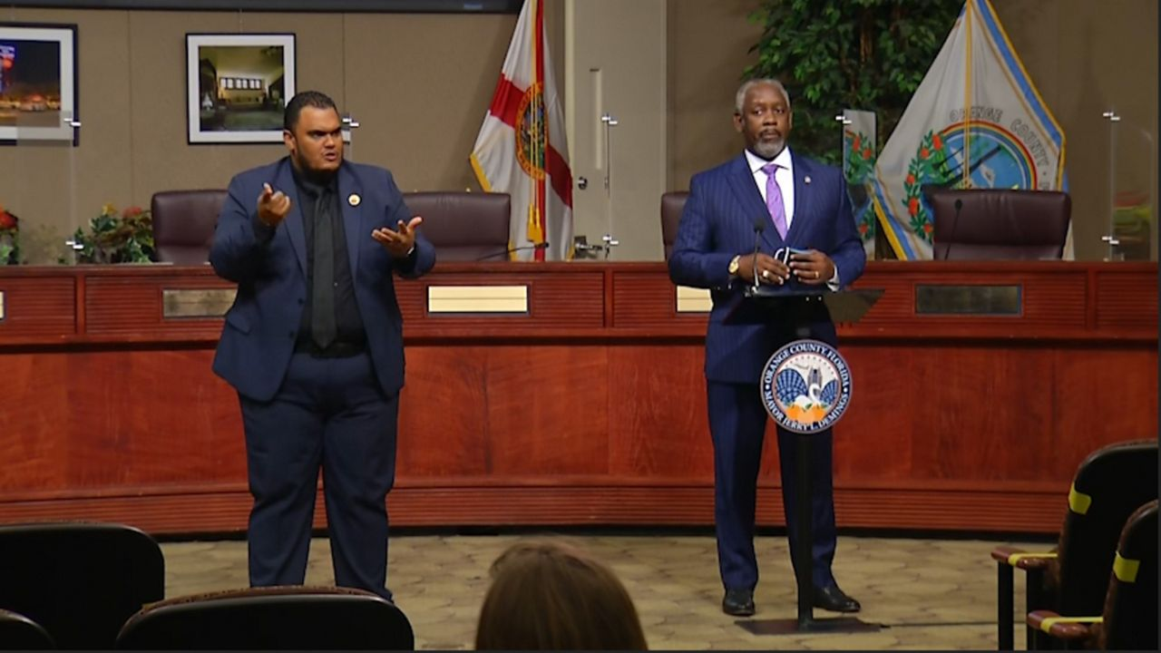 FILE - Orange County Mayor Jerry Demings delivers his weekly coronavirus press briefing in the Orange County Commission Chambers in Downtown Orlando. Photo: Spectrum News 13.