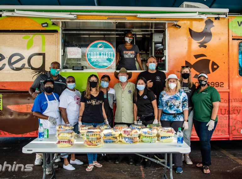The Food Fleet partners with the Mavuno Project and the Seed food truck in Pembroke Park, FL on June 15th, 2020. (Peter McMahon/Miami Dolphins)