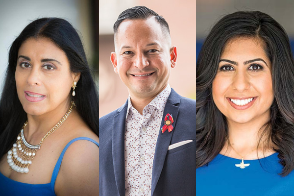(l-r) State Representatives Daisy Morales (D-48), Carlos G. Smith (D-49) and Anna Eskamani (D-47) have teamed up to launch a COVID-19 vaccine distribution site at a church in Azalea Park, located in Morales's district. Photos (l-r): Frank Weber, Roberto Gonzalez.