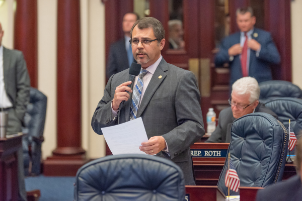 State Representative Thomas Leek speaks in the Florida Capitol. Photo: Florida House of Representatives.