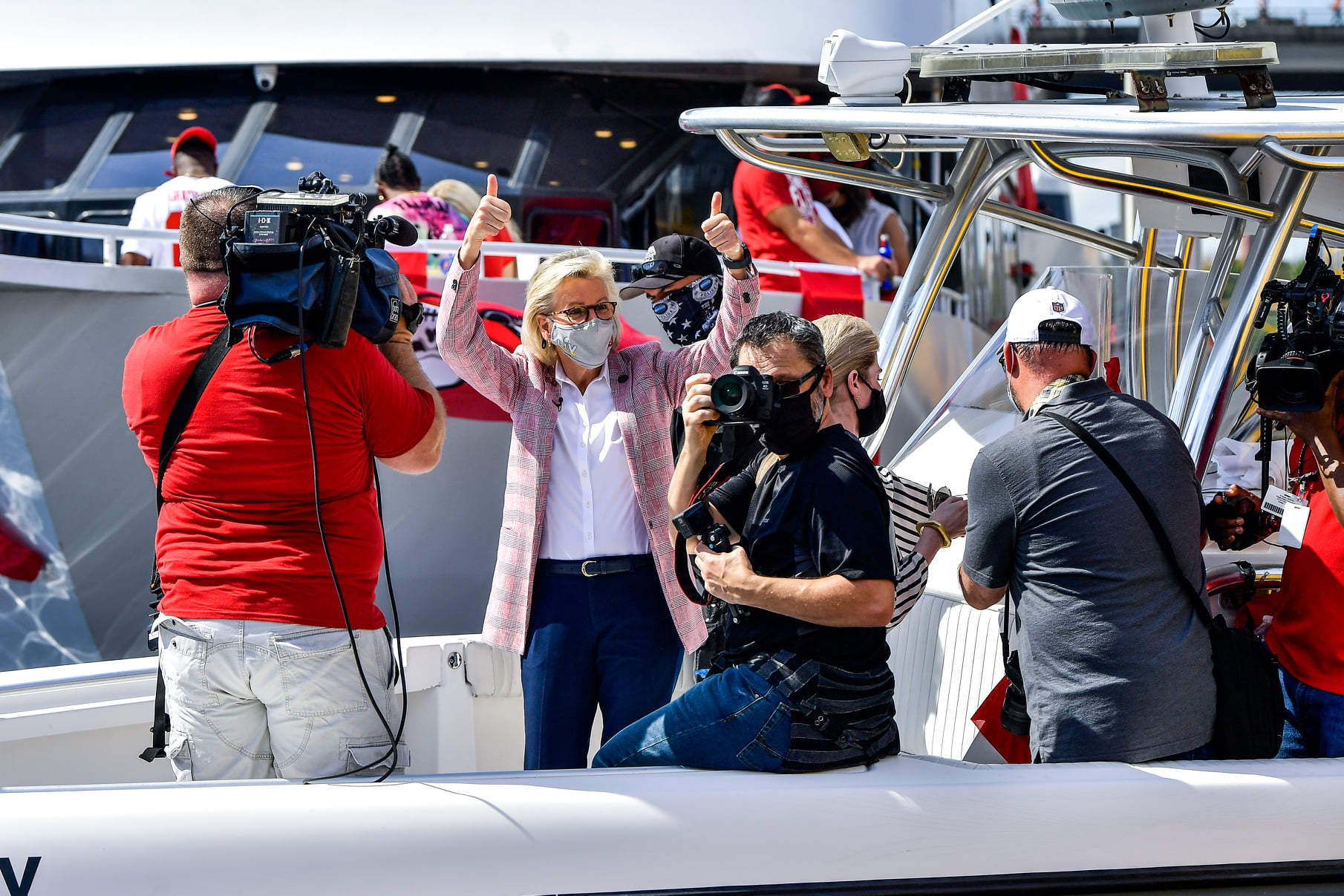 Tampa Mayor Jane Castor along with fans celebrate Tampa Bay Buccaneers Super Bowl LV win with a boat parade, Wednesday, February 10, 2021. (Photo by Harry Castiblanco / Florida National News)