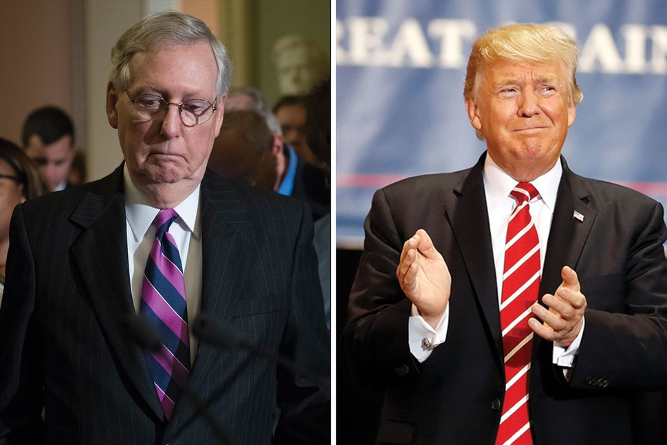 Senate Minority Leader Mitch McConnell and former President Donald Trump. Photos: J. Scott Applewhite and Alex Brandon/AP.