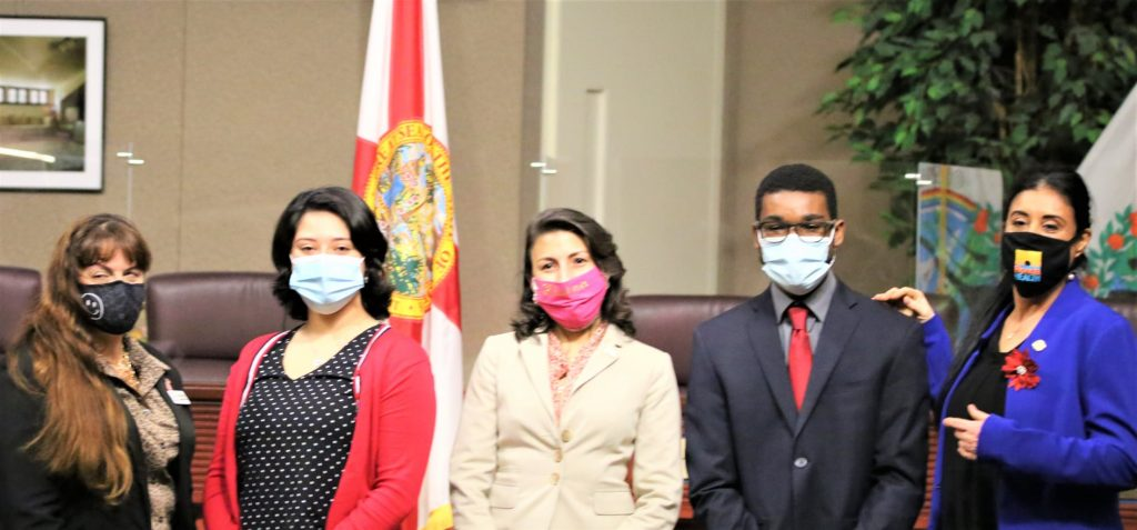 State Rep. Daisy Morales (far right) poses with the newly elected Orange Soil & Water Conservation District Supervisors which she helped swear in on December 28, 2020. (l-r): Supervisors Karolyn Campbell (Seat 2), Raquel Lozano (Seat 3), Alaina Slife (Seat 5), and Nathaniel Douglas (Seat 1). Photo: Willie David/Florida National News.