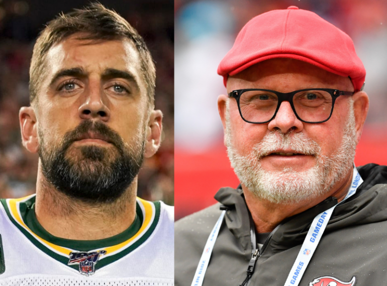 Green Bay Packers QB Aaron Rodgers and Tampa Bay Buccaneers head coach Bruce Arians. Photos: NFL and USA TODAY Sports (respectively).
