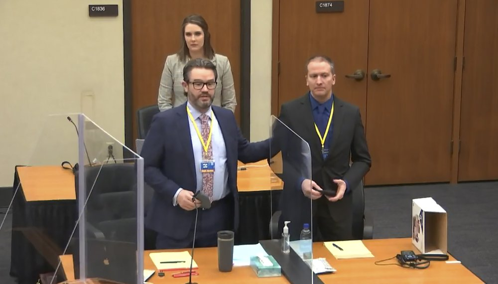 FILE - In this image taken from video, defense attorney Eric Nelson, left, defendant and former Minneapolis police officer Derek Chauvin, right, and Nelson's assistant Amy Voss, back, introduce themselves to potential jurors on Tuesday, March 23, 2021, as Hennepin County Judge Peter Cahill presides over jury selection in the trial of Chauvin at the Hennepin County Courthouse in Minneapolis. Chauvin is charged in the May 25, 2020 death of George Floyd. The huge task for jurors at the trial of Chauvin showed during jury selection as some would-be jurors said they were unnerved by the very thought of being on the panel. (Court TV, via AP, Pool)