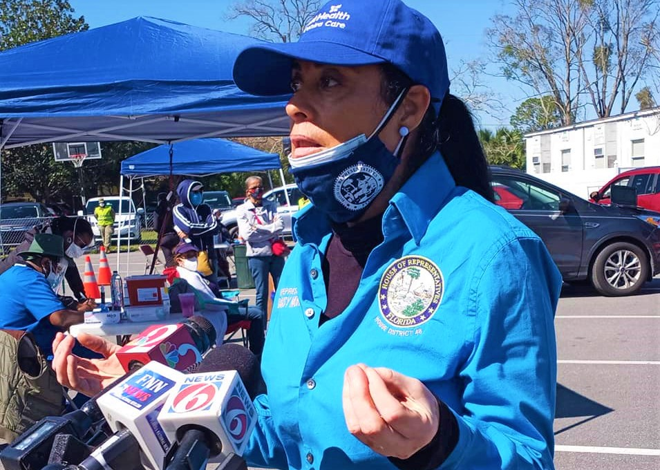 State Representative Daisy Morales (D-48) talks with press during her first District 48 vaccination clinic Saturday, February 20, 2021. Photo: Office of Rep. Morales.