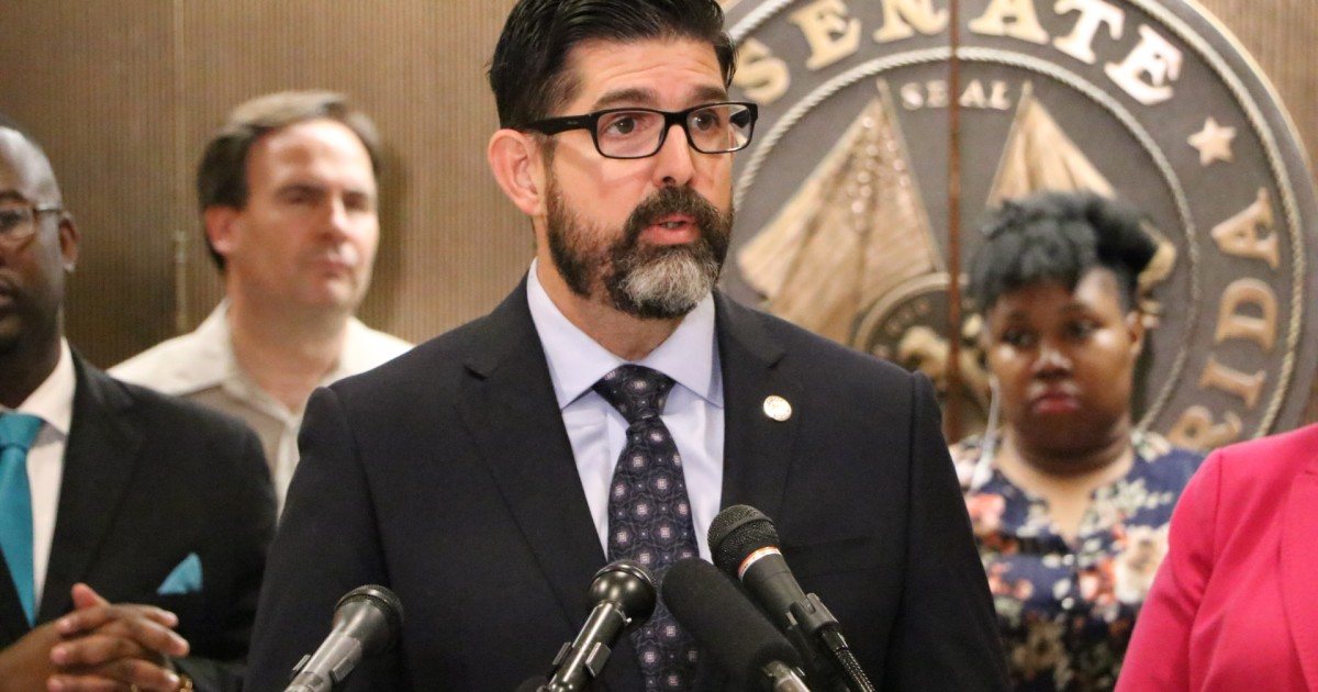 State Senator Manny Diaz, Jr. (R-Miami-Dade) speaks outside the Florida Senate Chambers at the State Capitol in Tallahassee. Photo via WUSF.