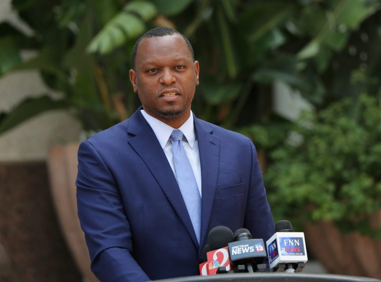 State Senator Randolph held a press conference outside Orlando City Hall on Police and Criminal Justice Reform bills, Friday, April 23, 2021. (By Willie David / Florida National News)