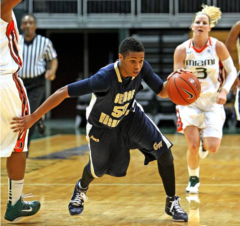 George Washington University's Kye Allums competing at the BankUnited Center against the University of Miami Women's Basketball Team on December 28th, 2010. Photo via the Miami Herald.