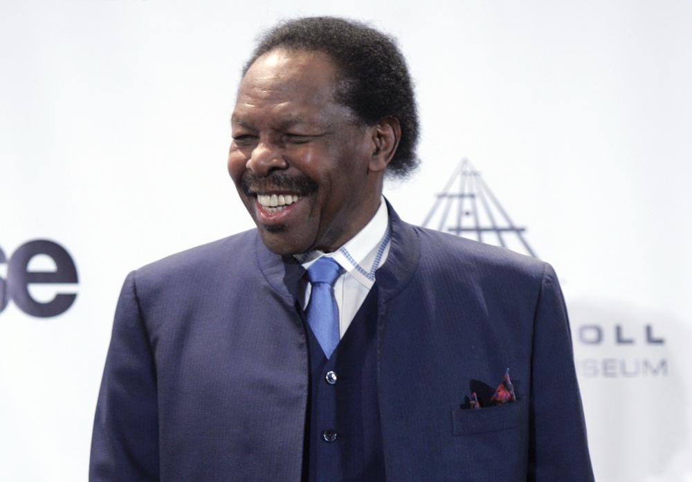 """FILE - This March 14, 2011 file photo, shows Lloyd Price appears backstage at the Rock and Roll Hall of Fame induction ceremony, in New York. The New Orleans mainstay and Rock and Roll Hall of Famer has died. Price was known for such hits as """"Lawdy Miss Clawdy"""" and """"Stagger Lee."""" His wife Jackie said he died Monday, May 3, 2021 in New Rochelle, N.Y. (AP Photo, File)"""