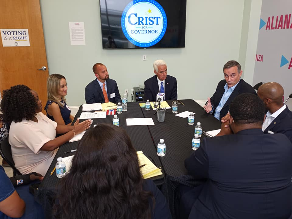 Alianza for Progress Executive Director Marcos Vilar hosted US Congressman and Florida gubernatorial candidate Charlie Crist's statewide Voting Rights Tour roundtable discussion at their East Orlando office, Tuesday, June 8, 2021. (Photo by Willie David/Florida National News)