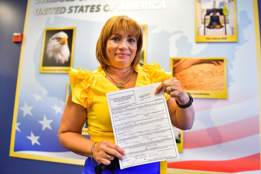 Orange County District 4 Commissioner Maribel Gomez Cordero files paperwork to run for re-election at the Orange County Supervisor of Elections Office in downtown Orlando Tuesday, June 1, 2020. Photo: Harry Castiblanco/Florida National News.