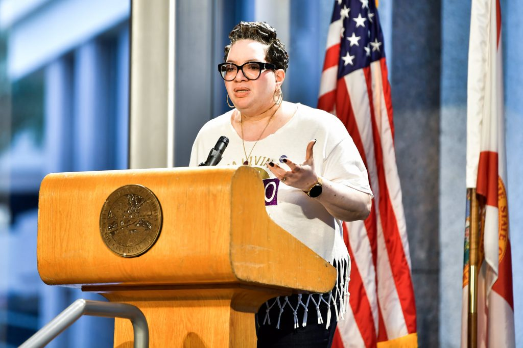 Beautifully Unblemished founder Tonja Johnson shared her personal journey with vitiligo during State Rep. Daisy Morales's inaugural World Vitiligo Day event at Orlando City Hall Friday, June 25, 2021. Photo: Harry Castiblanco/Florida National News.
