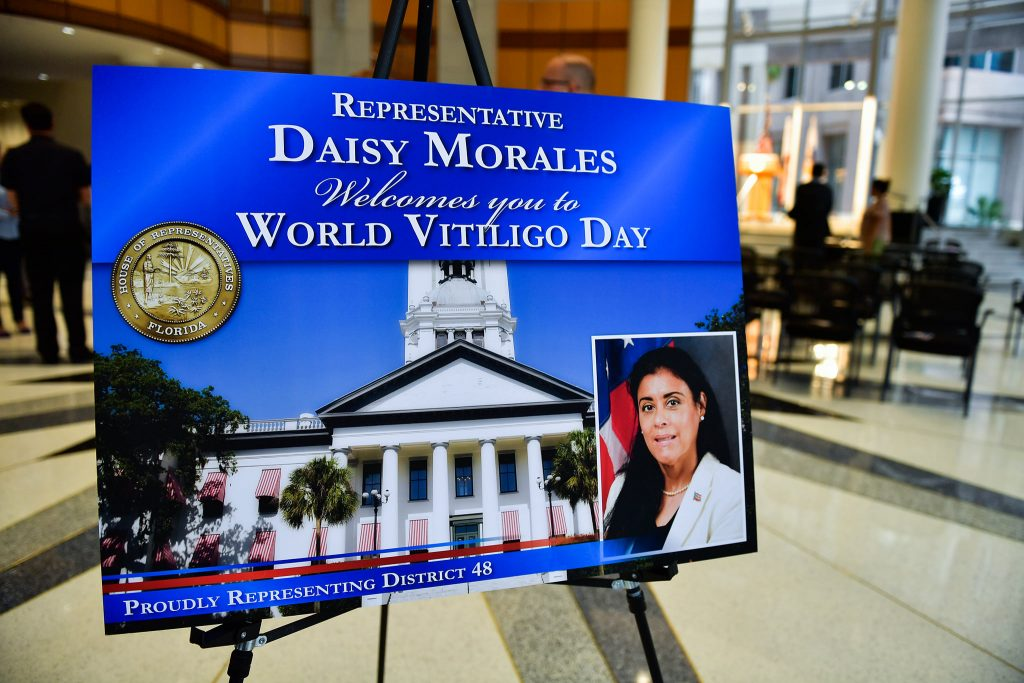 State Representative Daisy Morales's welcome sign for her inaugural World Vitiligo Day event at Orlando City Hall in downtown Orlando Friday, June 25, 2021. Photo: Harry Castiblanco/Florida National News.