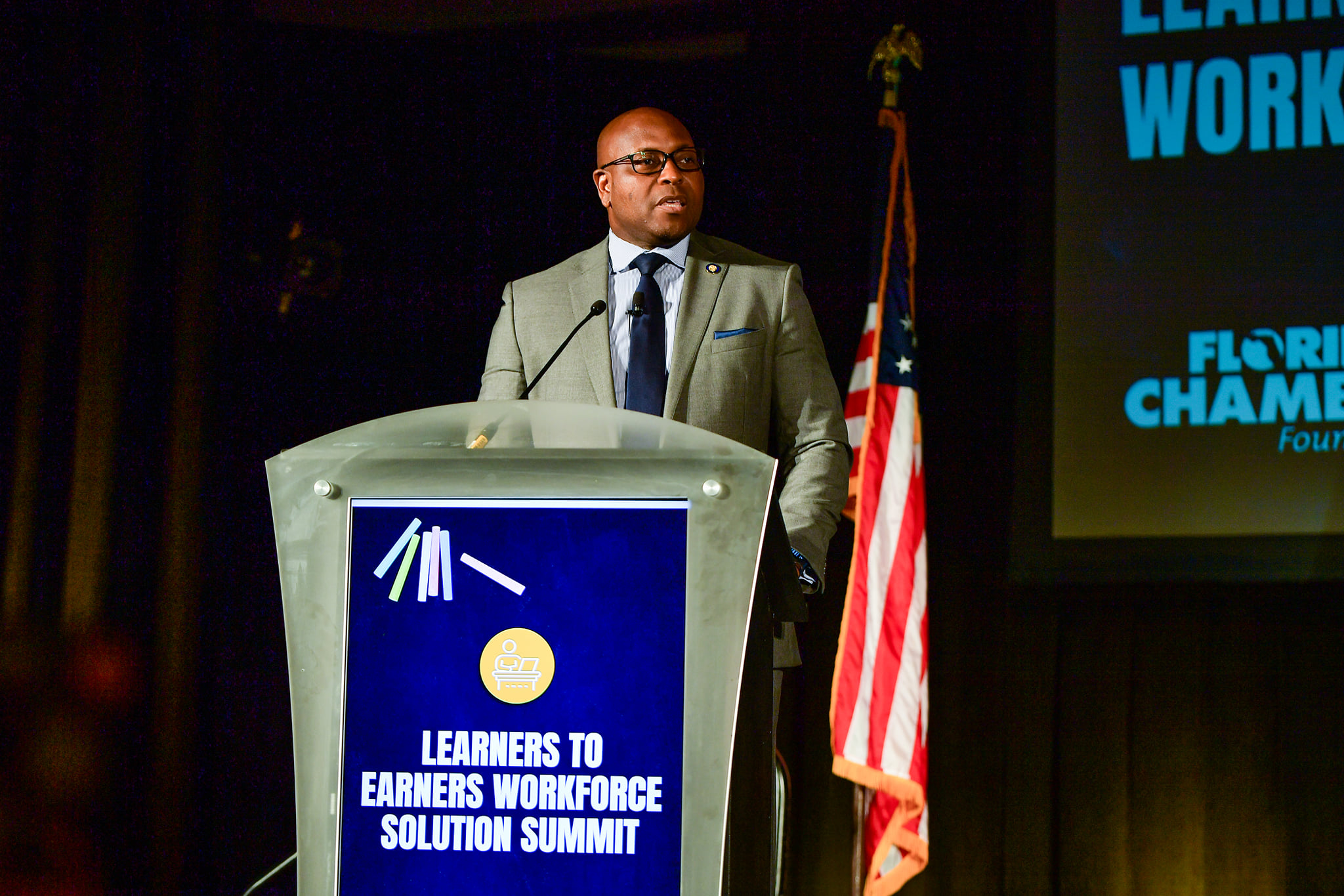 Florida Lottery Secretary John Davis speaks during the Florida Chamber of Commerce's Learners to Earners Workforce Summit at the Wyndham Orlando Resort Bonnet Creek Tuesday, June 15, 2021. Photo: Harry Castiblanco/Florida National News.