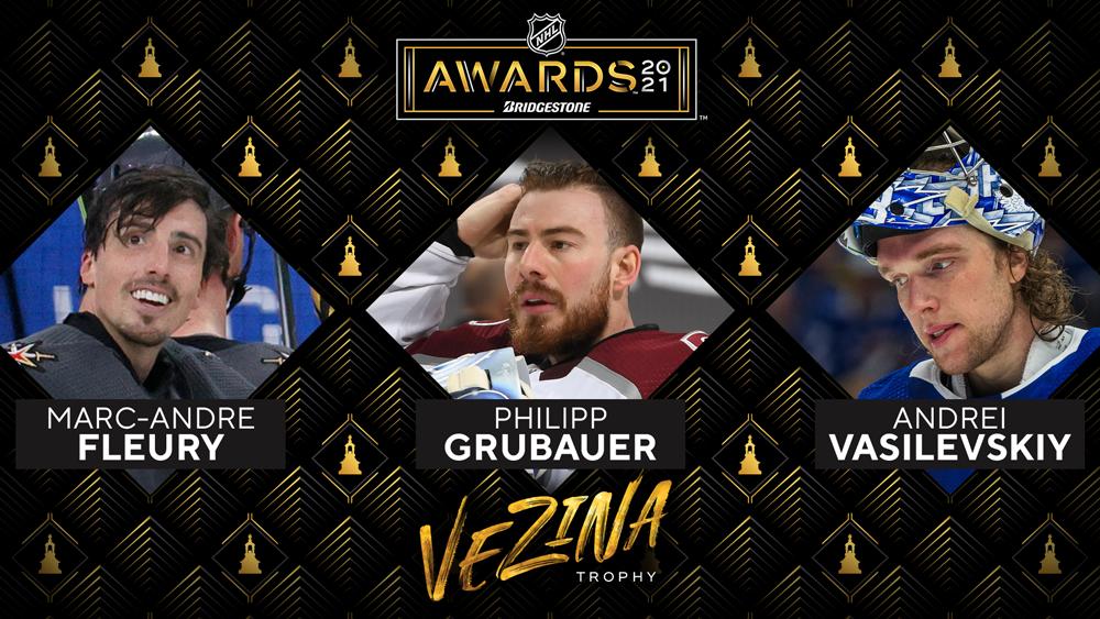 NHL 2020-21 Vezina Trophy finalists. Image: National Hockey League.