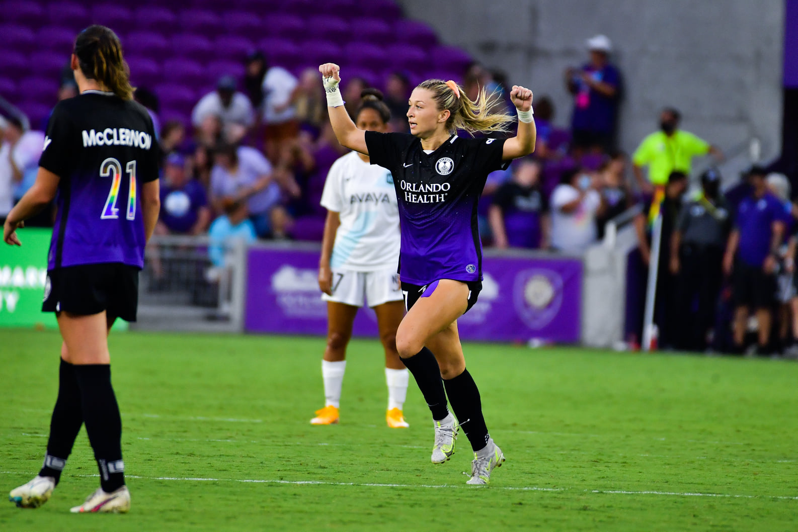 Orlando Pride defender Courtney Petersen celebrates after scoring the equalizer in the 90th minute against Gotham at Exploria Stadium Sunday, June 20, 2021. Photo: Harry Castiblanco/Florida National News.