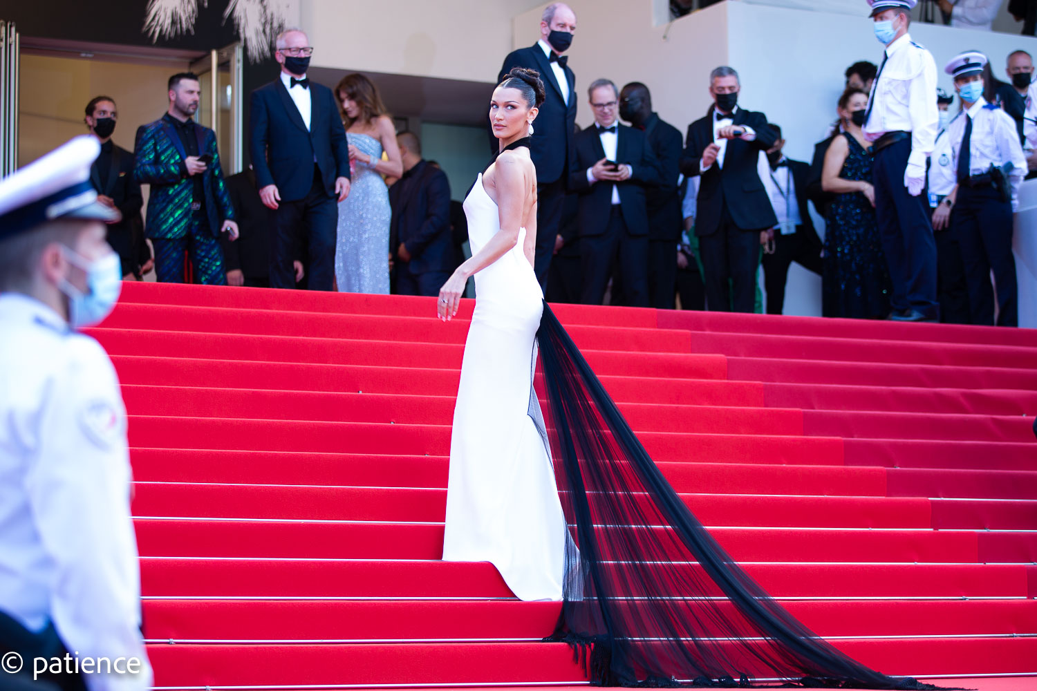 Supermodel Bella Hadid brought all the glamour to the 2021 Cannes Film Festival opening night red carpet Tuesday. Photo: Patience Eding/Another Concept via Florida National News.