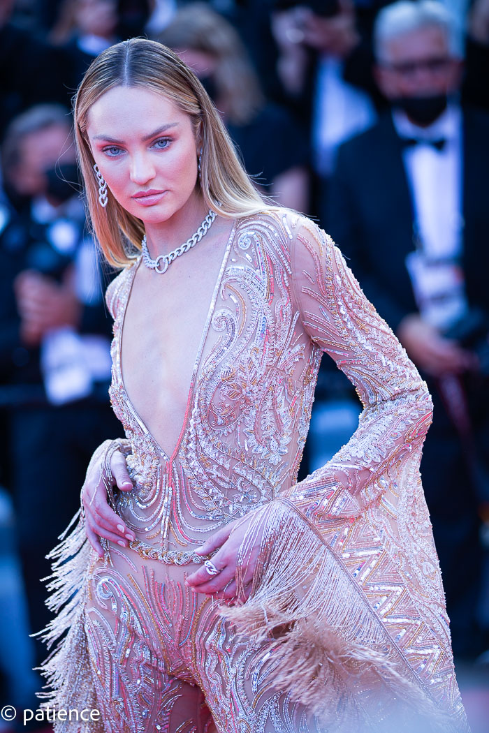 Supermodel Candice Swanepoel stuns in a custom Etra catsuit at the 2021 Cannes Film Festival Opening Night red carpet. Photo: Patience Eding/Another Concept via Florida National News.