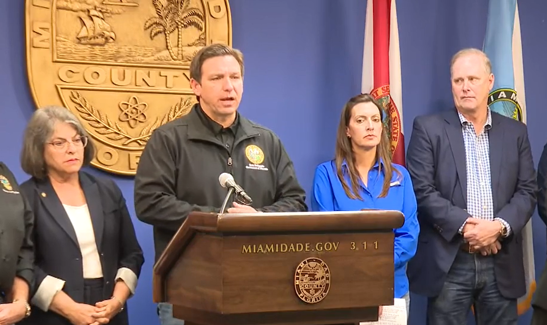 Governor Ron DeSantis addresses the media during a State of Emergency declaration press conference regarding Tropical Storm Elsa in the Florida Division of Emergency Management in Tallahassee Sunday, July 4, 2021. Photo: Florida Division of Emergency Management.