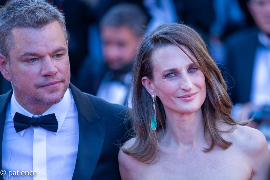 """Matt Damon and Camille Cottin at the """"Stillwater"""" red carpet premiere during the 74th Cannes Film Festival. Photo: Patience Eding/Another Concept for Florida National News."""