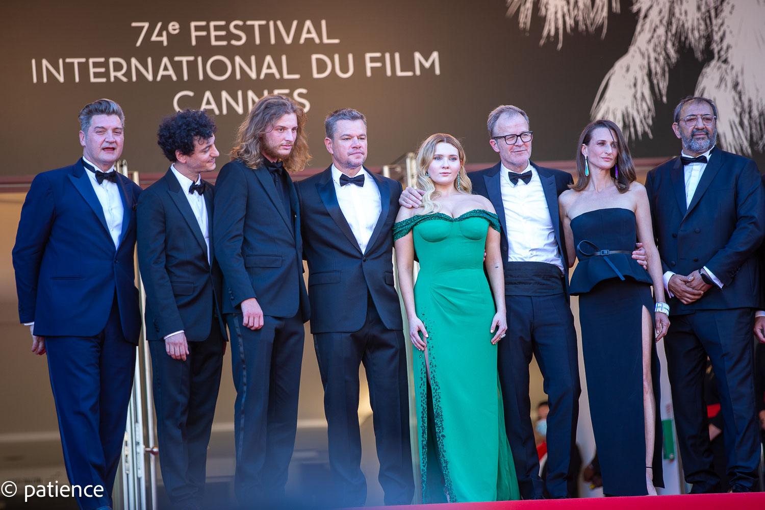 """The """"Stillwater"""" cast pose for the Cannes red carpet cameras before heading inside for the premiere. Photo: Patience Eding/Another Concept for Florida National News."""