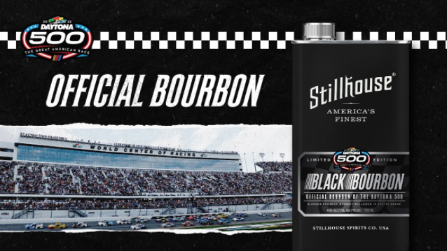 STILLHOUSE is the official bourbon for the Daytona International Speedway and the 2022 DAYTONA 500. Image courtesy Daytona International Speedway.