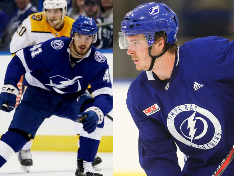 Boris Katchouk (left) and Taylor Raddysh sign three-year contracts with the Tampa Bay Lightning. Photos: Tampa Bay Times.