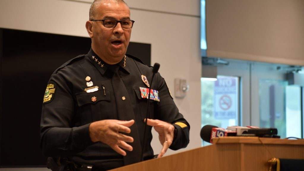 Orlando Chief of Police Orlando Rolón talks with the press after the BWC demonstration. Photo: Juan Carlo Rodríguez/Florida National News.