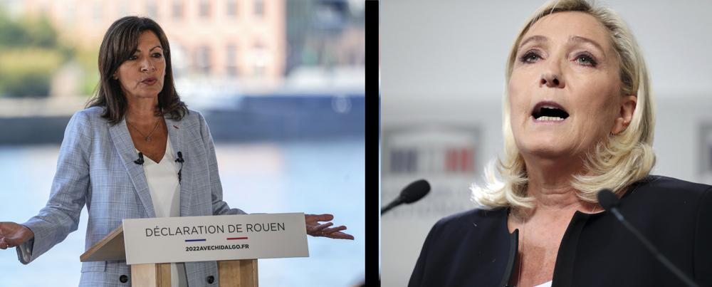 FILE - This combo of file photos shows at left, Socialist mayor of Paris Anne Hidalgo announces her candidacy for the upcoming presidential election in France next year, Normandy, France, Sunday, Sept. 12, 2021, and at right, French far-right National Rally leader Marine Le Pen gives a press conference, at the National Assembly, in Paris, Monday, Oct. 7, 2019. Two politicians have formally declared their intentions to seek to become France's first female president in next year's spring election. National Rally's Marine Le Pen and Paris' Socialist mayor, Anne Hidalgo, both officially launched their campaigns Sunday, Sept. 12, 2021 in what were widely expected moves. (AP Photo/Michel Euler/Thibault Camus)