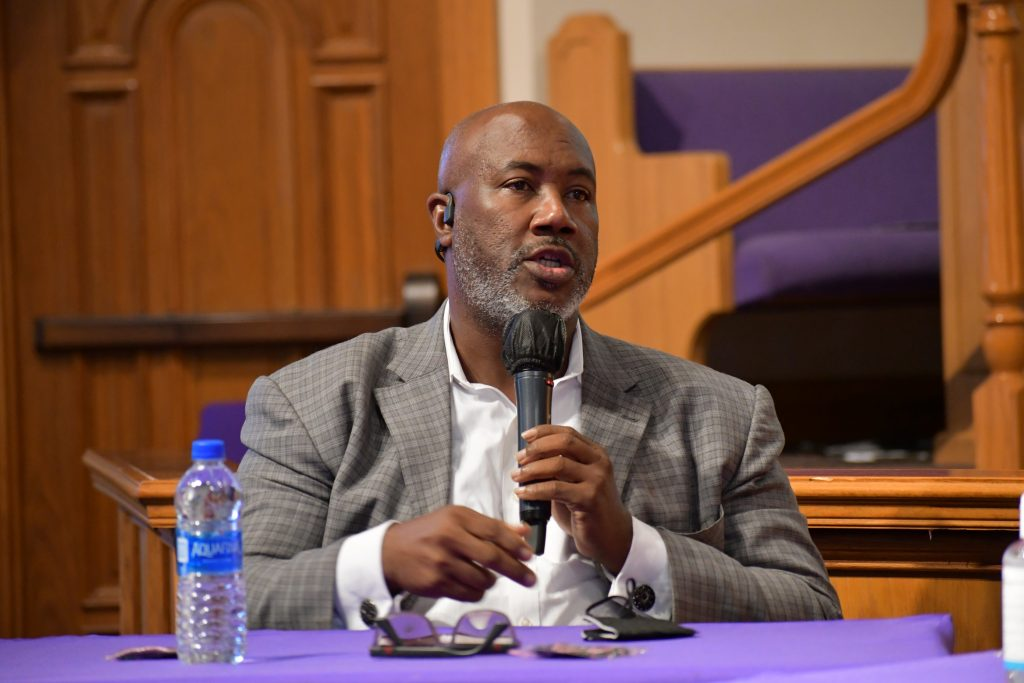 Pastor Darren Grey of the Saint Mark AME Church, speaks during Florida gubernatorial candidate U.S. Rep. Charlie Crist's Justice For All roundtable in Orlando Monday, October 11, 2021. Credit: Juan Carlo Rodriguez/Florida National News.