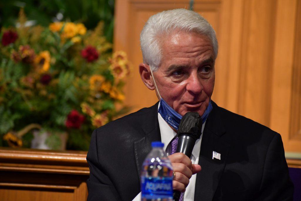 U.S. Rep. and Florida gubernatorial candidate Charlie Crist speaks during his Justice For All voter restoration roundtable discussion at Saint Mark AME Church in Orlando, Florida Monday, October 11, 2021. Photo: Juan Carlo Rodriguez/Florida National News.