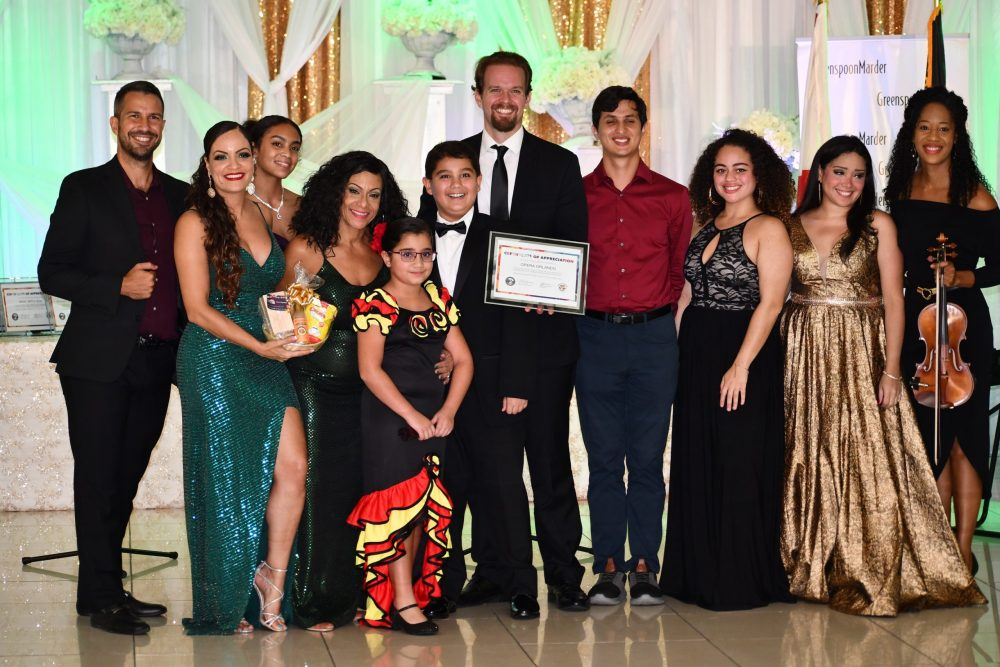 Performers from Opera Orlando received recognition from Yetzenia Negron in appreciation of their contribution to Orange County's Noche de Esperanza celebration at Imperial Design Era Victorian in Orlando Thursday, October 14, 2021. Photo: Juan Carlo Rodriguez/Florida National News.