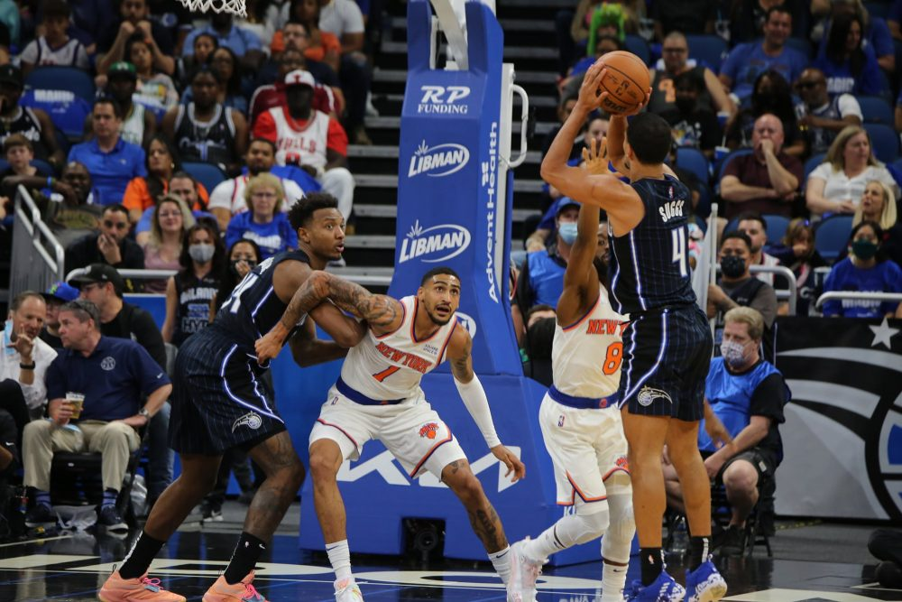 Orlando Magic's Jalen Suggs attempts a shot against the New York Knicks during the Orlando Magic season home opener at Amway Center Friday. Photo: Willie David/Florida National News.